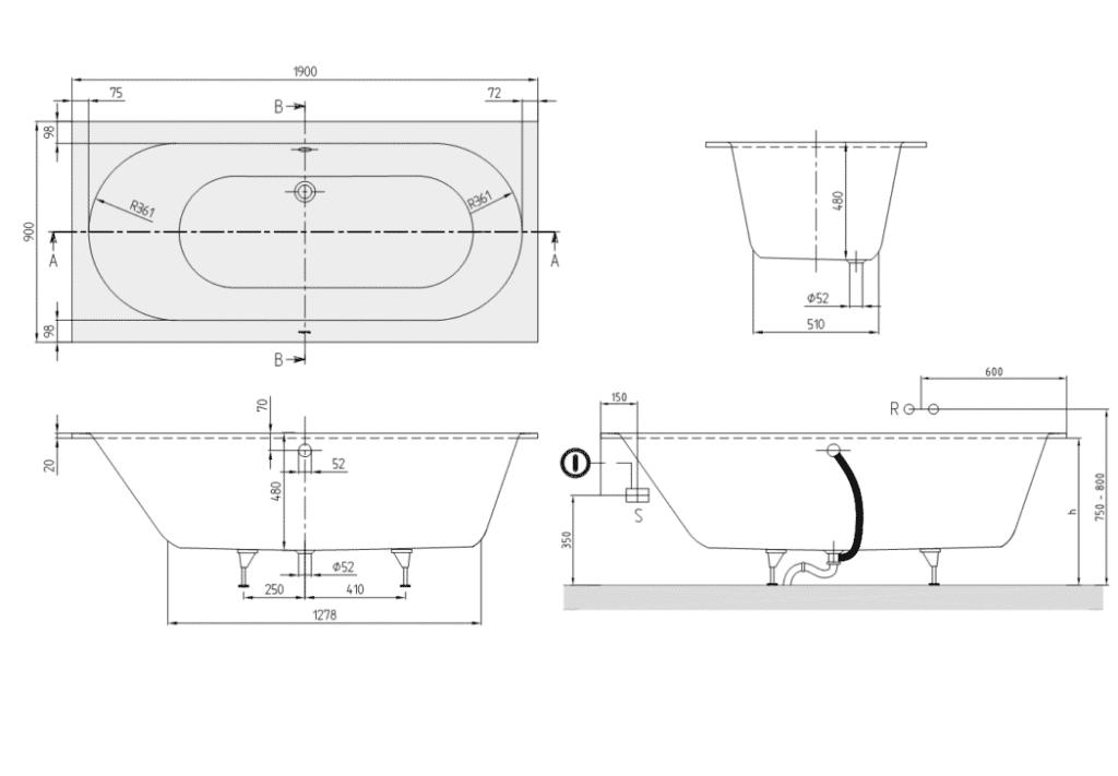 Схема установки квариловой ванны