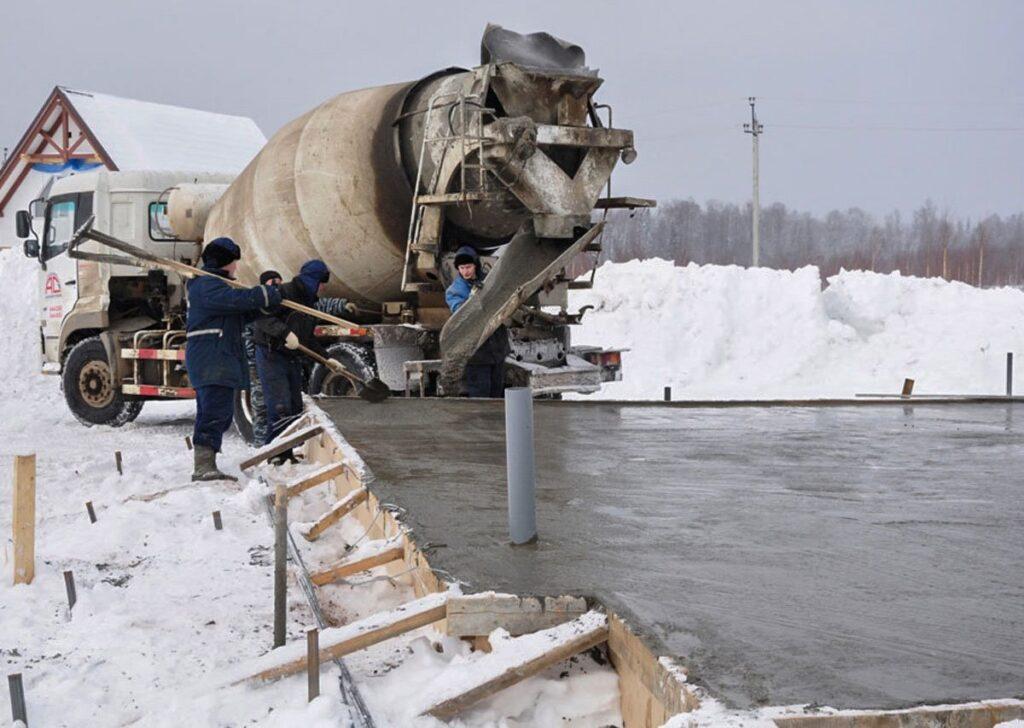 Как залить бетон в мороз?
